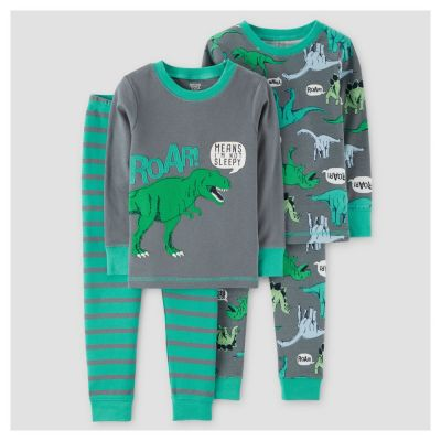 9b1bf5d58efa Baby Boys  4pc Dinos Roar Long Sleeve Cotton Pajama Set - Just One ...