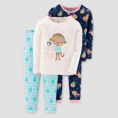 609b206bc5bb Baby Girls  4pc Long Sleeve Cocoa Monkey Pajama Set - Just One You ...